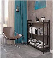 Стеллаж Квадро Лонг Лофт 3 полки, выбор цвета каркаса и полок, стиль Loft, Металл-Дизайн