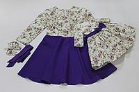 """Нарядное платье на маму (полусолнце) и доченьку (в стиле Фемели Лук) """" Сиреневая розочка"""" с фиолетовым низом"""