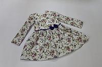 """Повседневно - нарядное платье на девочку """"Цветочное настроение """" с рукавами, фиолетовым поясом и бантиком"""