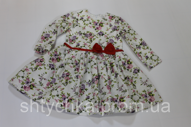 """Повседневно - нарядное платье на девочку """"Цветочное настроение """" с рукавами, красным поясом и бантиком"""
