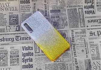 Чохол накладка Glitter Ombre на Samsung A7 (2018), A750, Silver/Gold