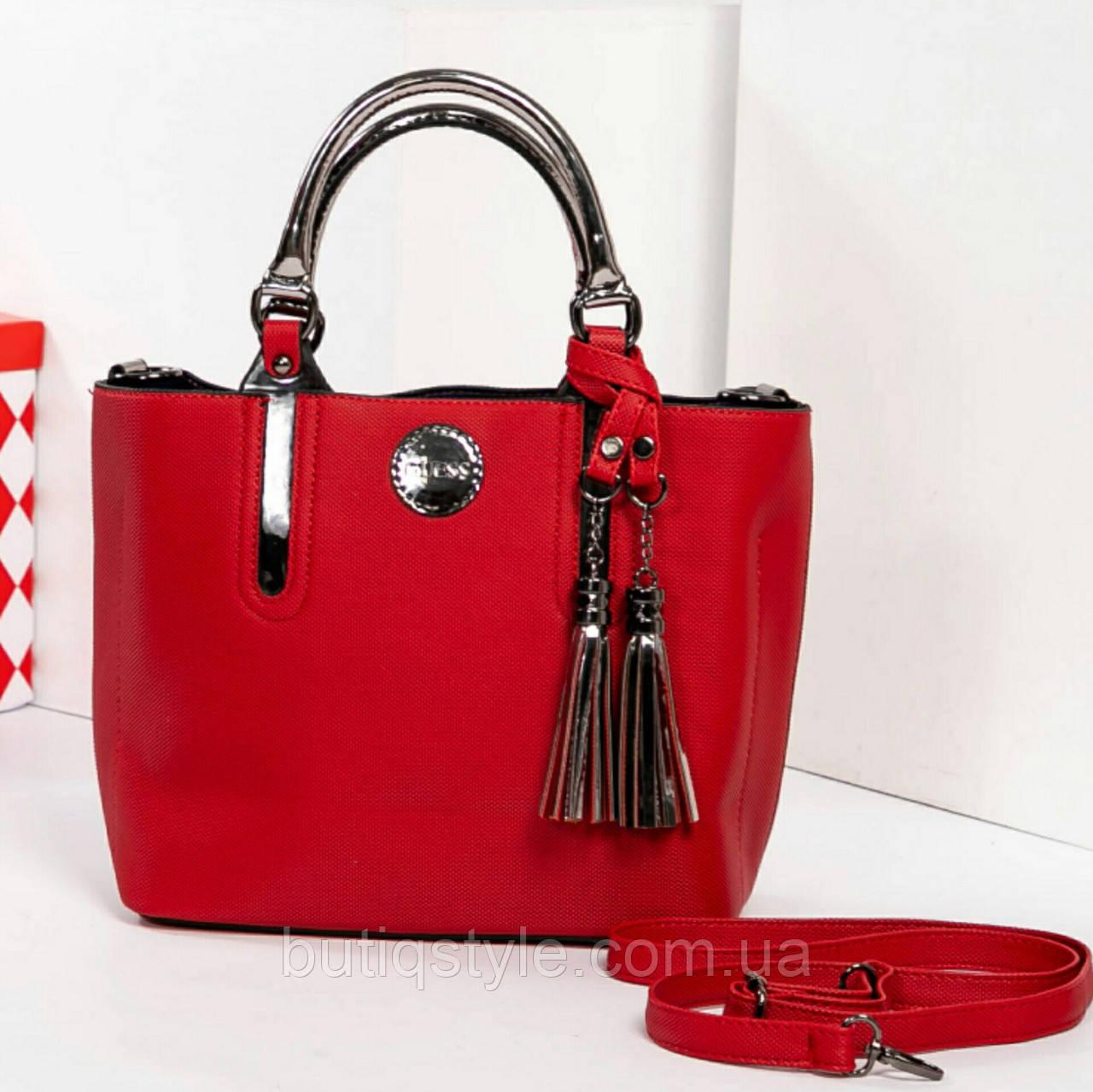 Красивая красная кожаная сумка Gue_ss с кисточками Турция