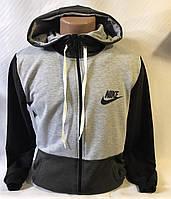 "Кофта спортивная мужская с капюшоном, бренд ""Nike"" размеры норма 46-52, серая с темно-серым"