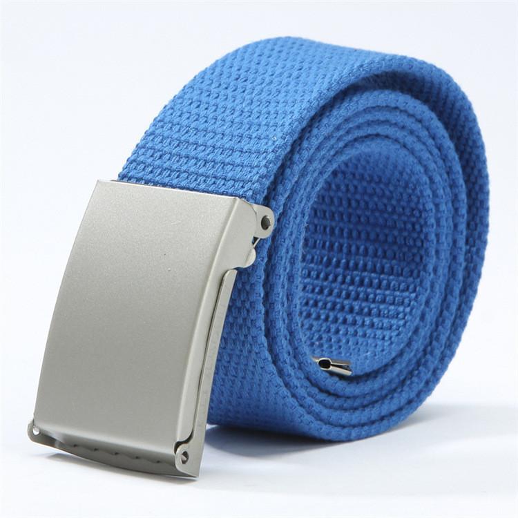 Ремень текстильный синий  с серой пряжкой