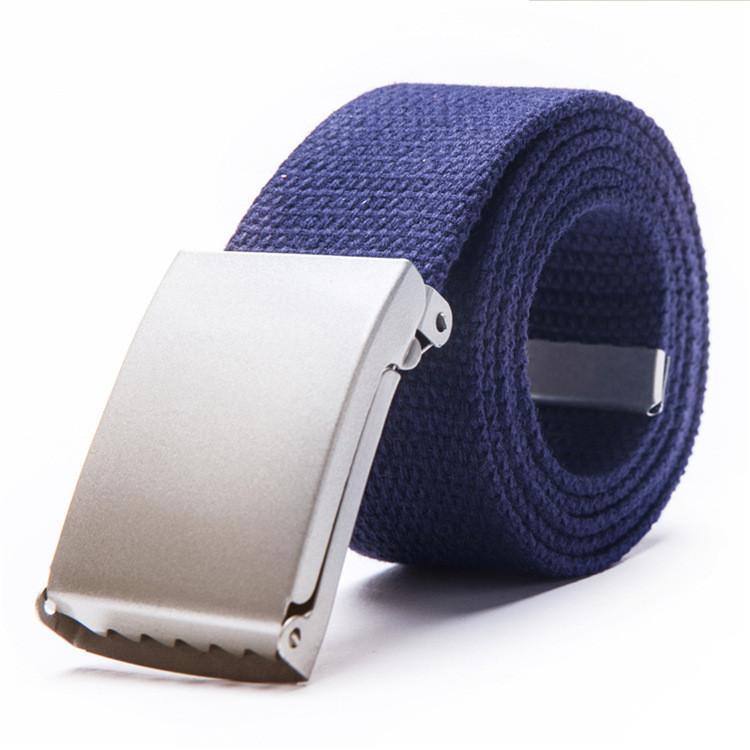 Ремень текстильный темно-синий  с серой пряжкой