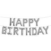 "Набор шаров ""Happy Birthday"" 40 см (16 дюймов) - СЕРЕБРО"