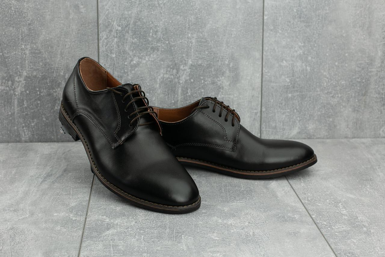 Стильные мужские кожаные туфли VanKristi 280 черные