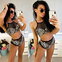 64db68e5a71be Купальник раздельный женский Страсть леопард принт эластан+сетка размеры :с-м,м