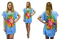 Туника-платье свободного покроя в цветочный яркий принт, фото 1