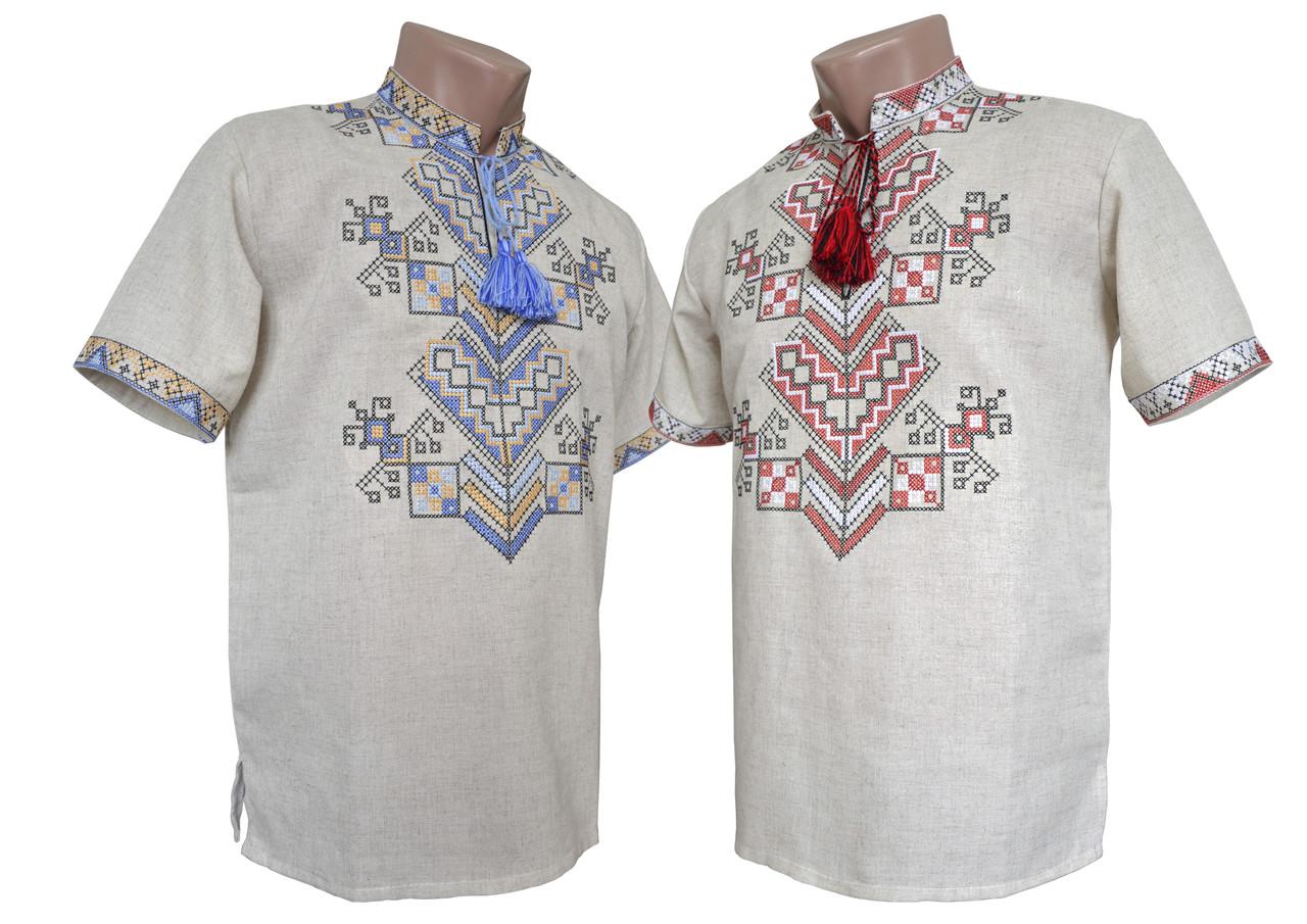 Лляна вишиванка на короткий рукав в українському стилі