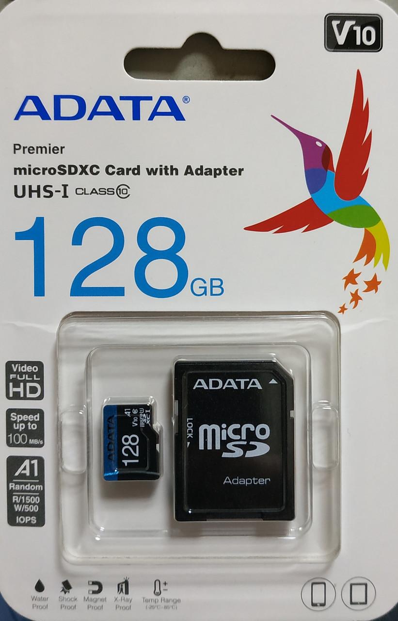 Карта памяти Adata микро SDXC UHS-1 128 гб класс 10 с адаптером