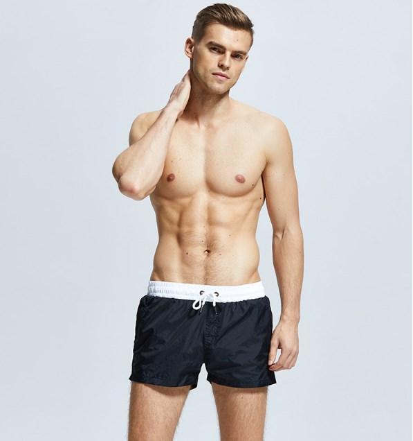 Шорты мужские пляжные короткие чёрные -163-02
