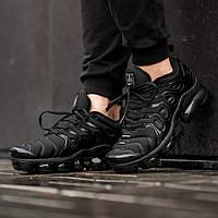 Мужские кроссовки в стиле Nike Air Vapormax Plus Black (Реплика ААА+), фото 1