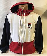 """Кофта спортивнаямужская с капюшоном, бренд """"Fila"""" размеры норма 46-52, белая с красным"""