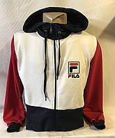 """Кофта спортивнаямужская с капюшоном, бренд """"Fila"""" размеры норма 46-52, белая с темно-синим"""