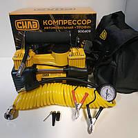 Компрессор автомобильный двухпоршневой (85л/мин; 10Атм; 18А) (витой шланг) СИЛА