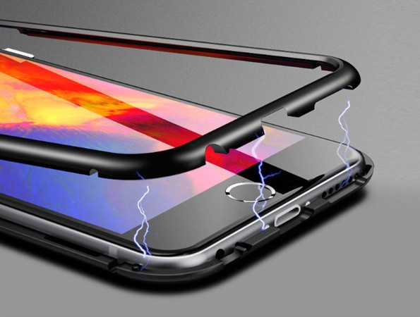 Магнитный чехол со стеклянной чёрной задней панелью для iPhone 7/8