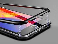 Магнитный чехол со стеклянной чёрной задней панелью для iPhone 7/8, фото 1