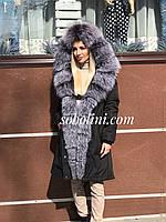 Парка женская с мехом чернобурки