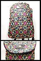 Рюкзак-сумка женская стёганная Prada (принт красный-зеленый)28*37см