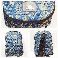 Рюкзак-сумка жіноча стьобаний Prada (принт синій)28*37см