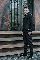 Жилетка + Штаны + Подарок! Мужской спортивный костюм весенний / осенний черный