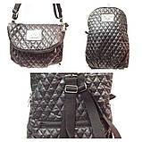 Рюкзак-сумка женская стёганная Prada (зеленый)28*37см, фото 3