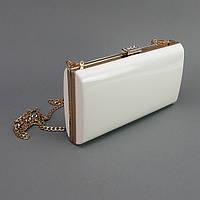 Клатч-бокс сумочка лаковая женская белая 8119-2