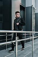 Жилетка + Штаны + Подарок! Мужской спортивный костюм весенний / осенний черно-серый