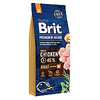 Сухой корм для взрослых собак средних пород (весом от 10 до 25 кг) Brit Premium Adult M 15 кг (курица)