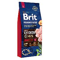 Сухой корм для взрослых собак крупных пород (весом от 25 до 45 кг) Brit Premium Adult L 15 кг (курица)
