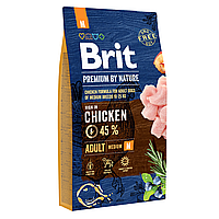 Сухой корм для взрослых собак средних пород (весом от 10 до 25 кг) Brit Premium Adult M 8 кг (курица)