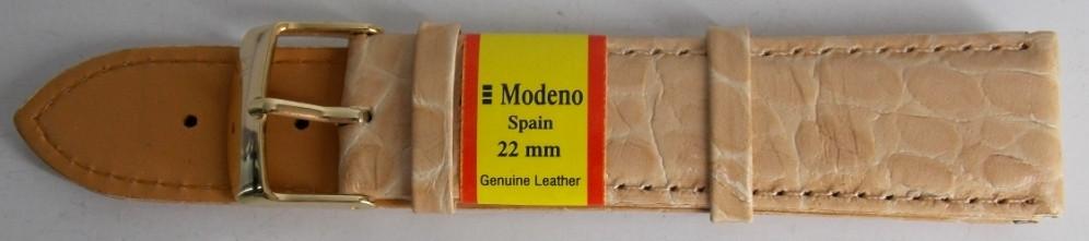 Ремінець шкіряний MODENO (ІСПАНІЯ) 22 мм, бежевий, яскравий
