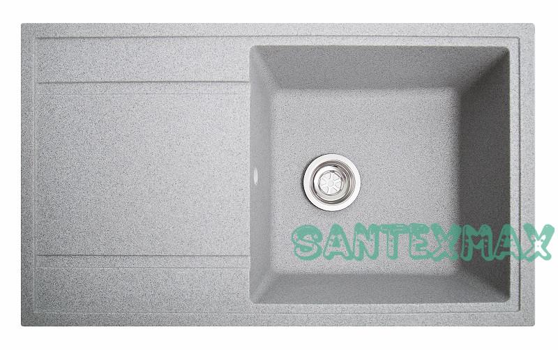 Кухонная гранитная мойка Solid Тотал серый 86x51