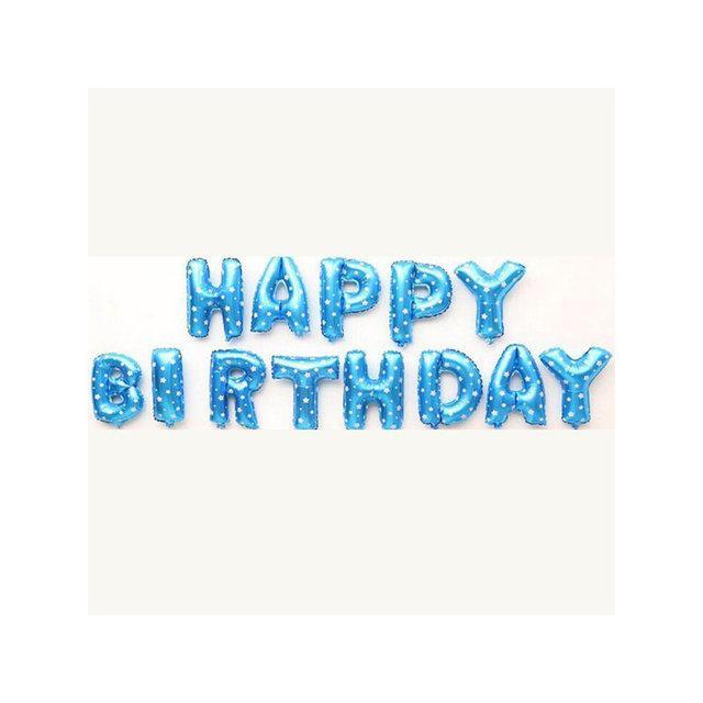 """Набор шаров """"Happy Birthday"""" 40 см (16 дюймов) - ГОЛУБОЙ В ЗВЕЗДОЧКУ"""