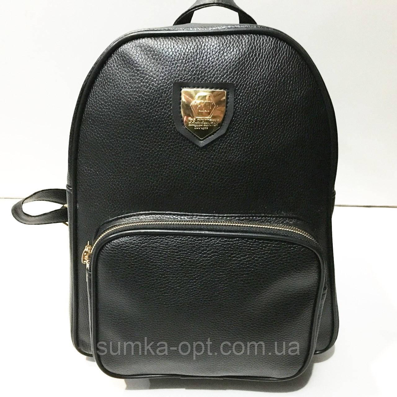 Стильные городские рюкзаки кожзам (черный)23*28см