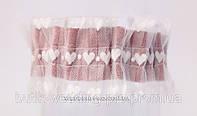 """Подвязка невесты """"Сердце"""" серо -розовая с текстурным фатином"""