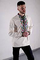 Заготовка чоловічої сорочки для вишивки нитками/бісером БС-49ч бежево-сірий, домоткане полотно