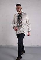 Заготовка чоловічої сорочки для вишивки нитками/бісером БС-49ч білий, атлас