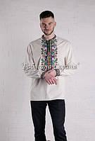 Заготівля чоловічої сорочки для вишивки нитками/бісером БС-49ч білий, габардин