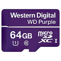 Карта памяти MICRO SDXC 64GB UHS-I/Western Digital PURPL/WDD064G1P0A WDC