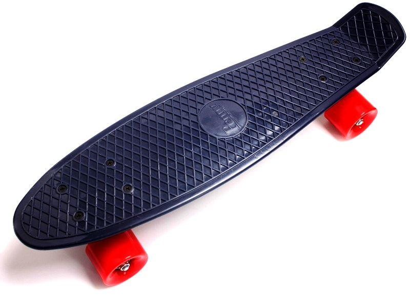 Penny Board. Темно-синий цвет. Красные колеса.