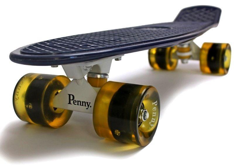 Penny Board. Темно-синий цвет. Желтые светящиеся колеса.