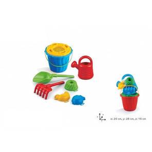 Набор для песочницы Кая с лейкой: ведерко, лейка, лопатка, грабли и 3 формочки, фото 2