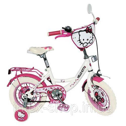 """Двухколесный детский велосипед 14"""" HK 0074 W Hello Kitty (белый с розовым)"""