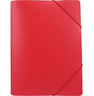 """Папка пластиковая А4 на резинках Format, фактура """"помаранч"""", красная"""