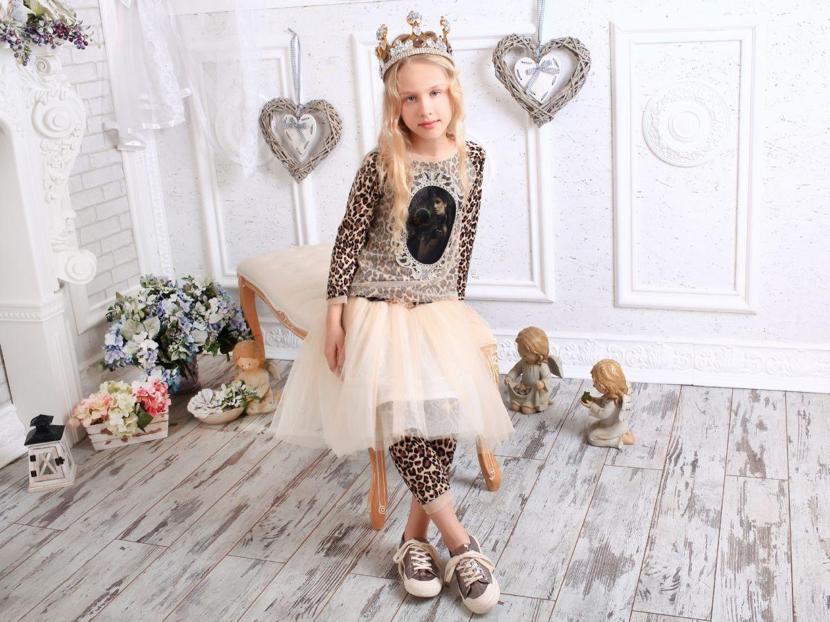 Кофта с леопардовым принтом тм МОНЕ р-ры 122