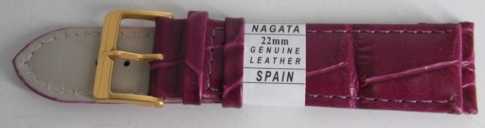 Ремешок кожаный NAGATA (ИСПАНИЯ) 22 мм, малиновый