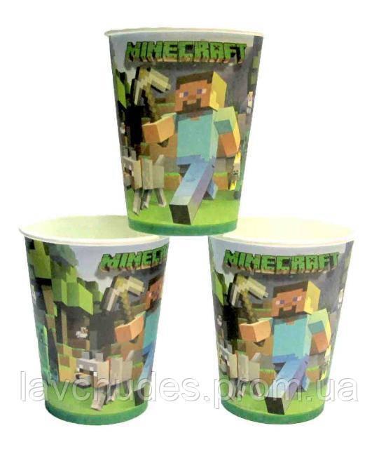 Детские стаканы Майнкрафт. Одноразовая посуда Майнкрафт. Праздничная посуда.