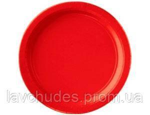 Праздничные, красные тарелки 10 шт. Одноразовая, праздничная посуда.